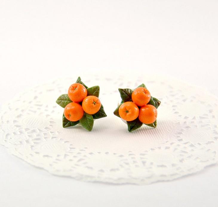 Orange Stud Fruit Earrings