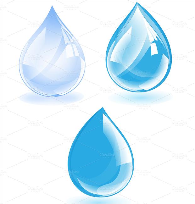 glossy water drops