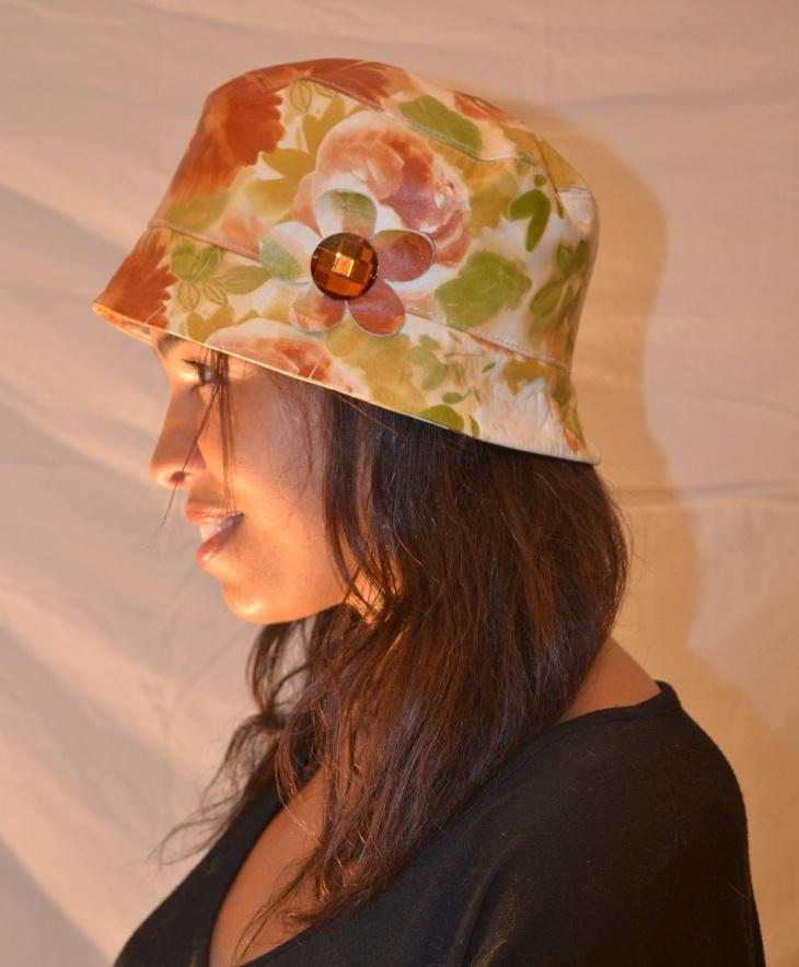 leather floral hat design