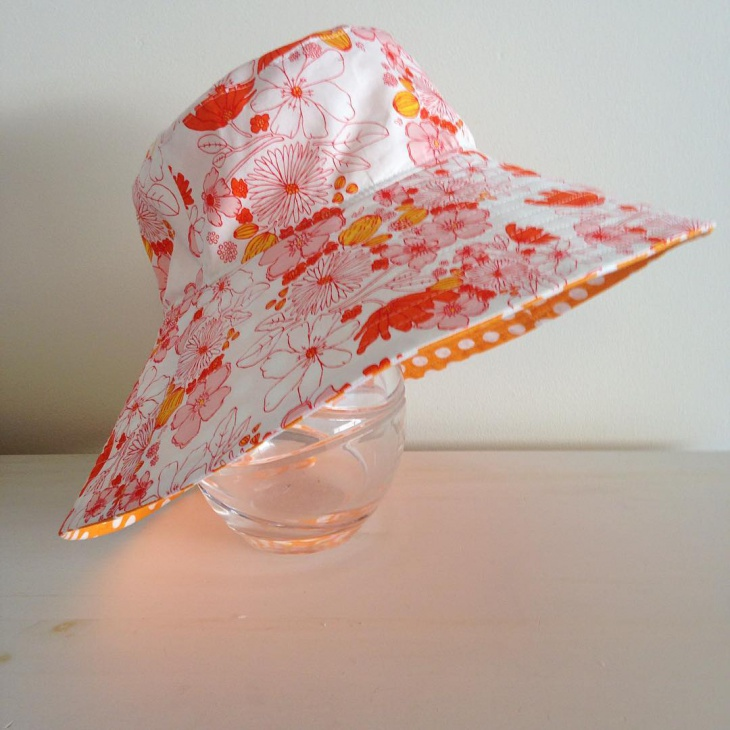 White and Orange Floral Hat