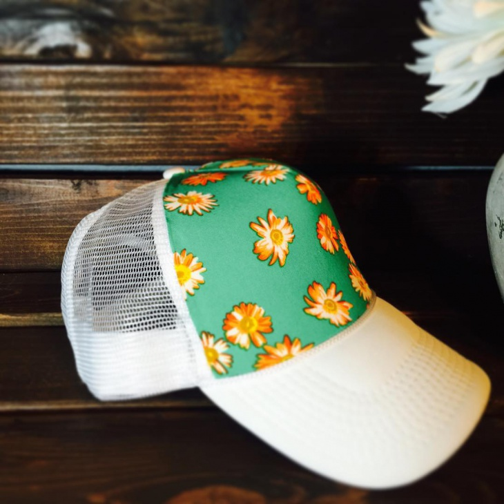 Green and White Floral Hat