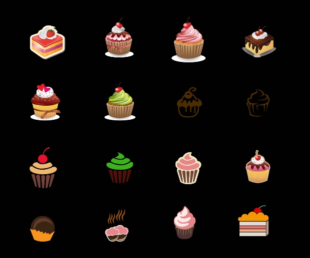 Pastery and Cupcakes Vector