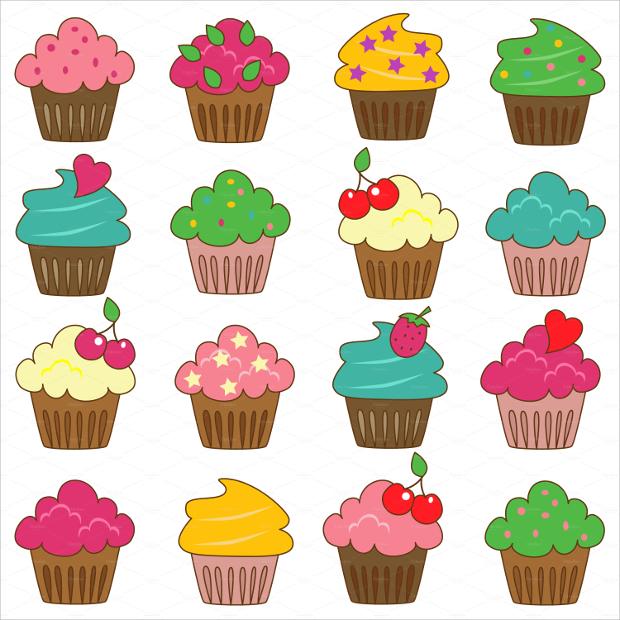 yummy cupcake vectors