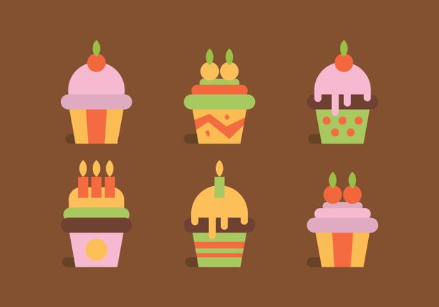 vanilla flavour cupcake vectors