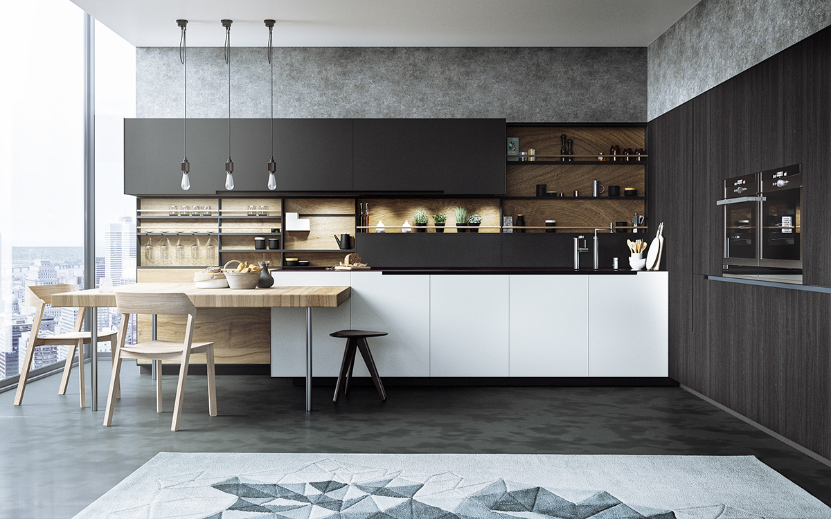 Kitchen Interior Design: 17+ Monochrome Kitchen Designs, Ideas