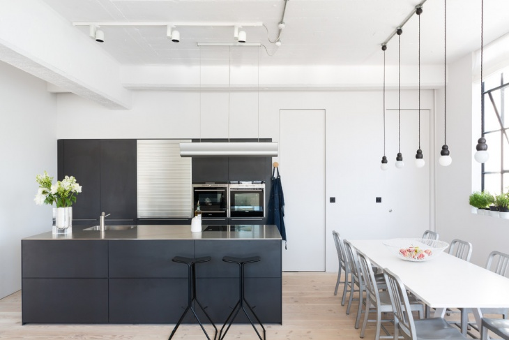 monochrome loft kitchen idea