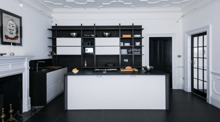 monochrome minimalist kitchen design