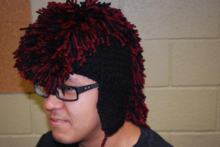 knitted fringe hat