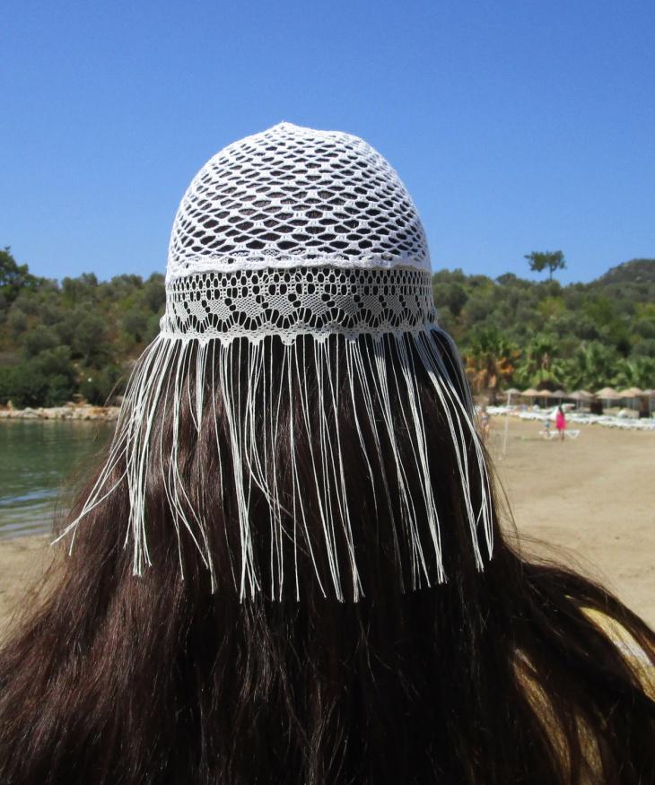 White Crochet Fringe Hat