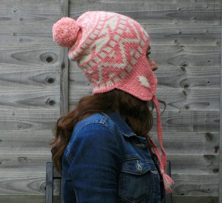 hand knit fringe hat