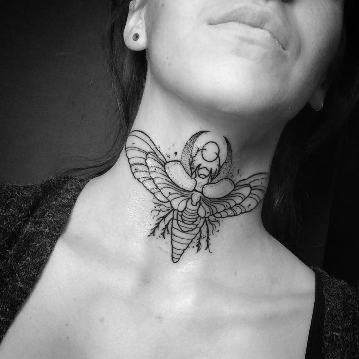 Neck Scarab Tattoo Design