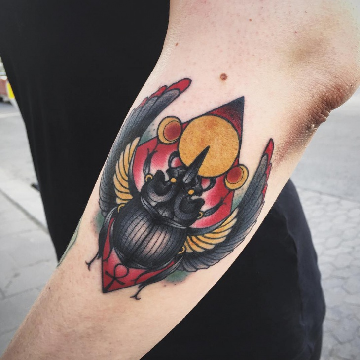 awesome scarab tattoo idea