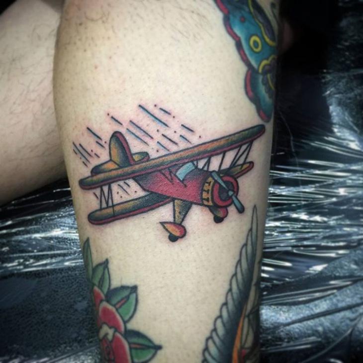 vintage airplane tattoo