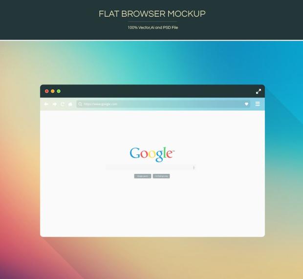 Free Flat Browser PSD Mockup