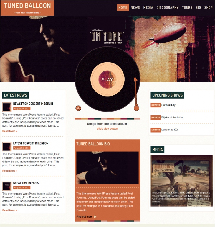 Professional WordPress Music Theme With Flexible Layout