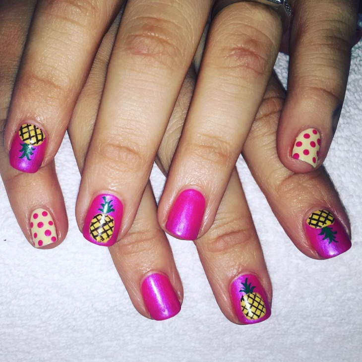 colorful pineapple nail art