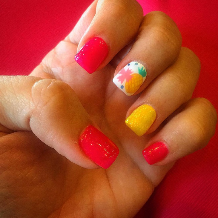 Pineapple Gel Nail Design