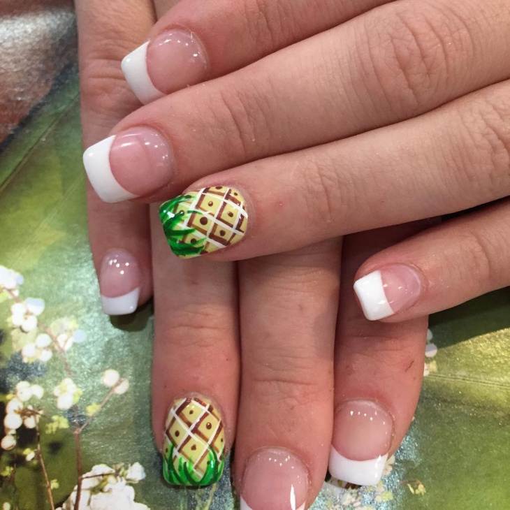 French Tip Pineapple Nails