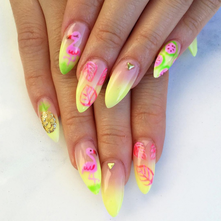 Sharp Pineapple Nail Art