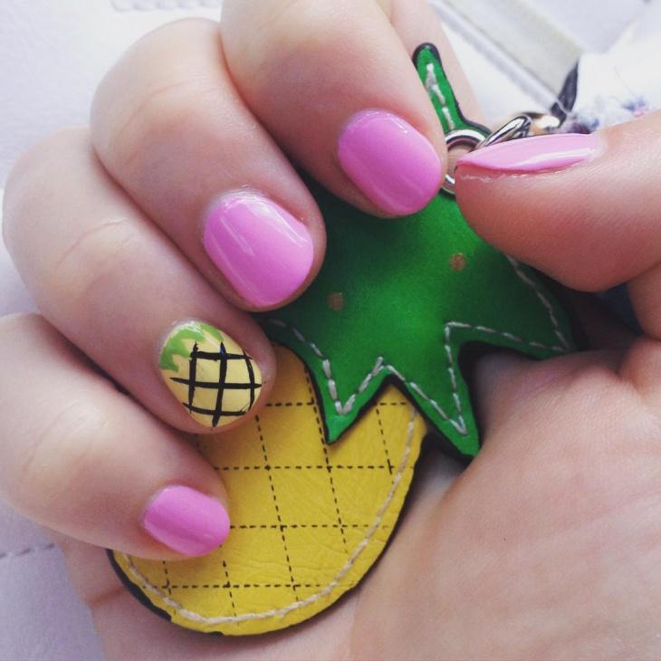 pineapple nail art for short nails