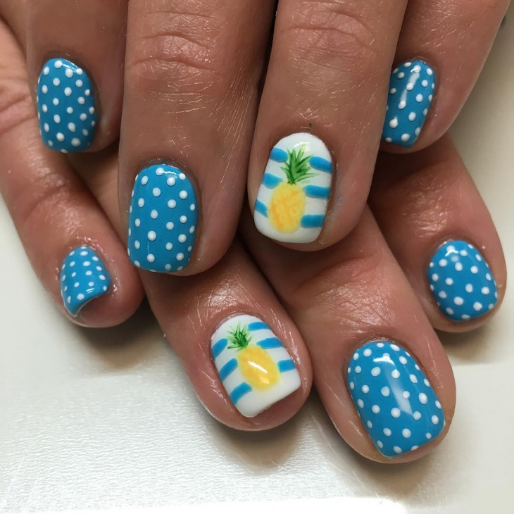 dotted pineapple nail art idea