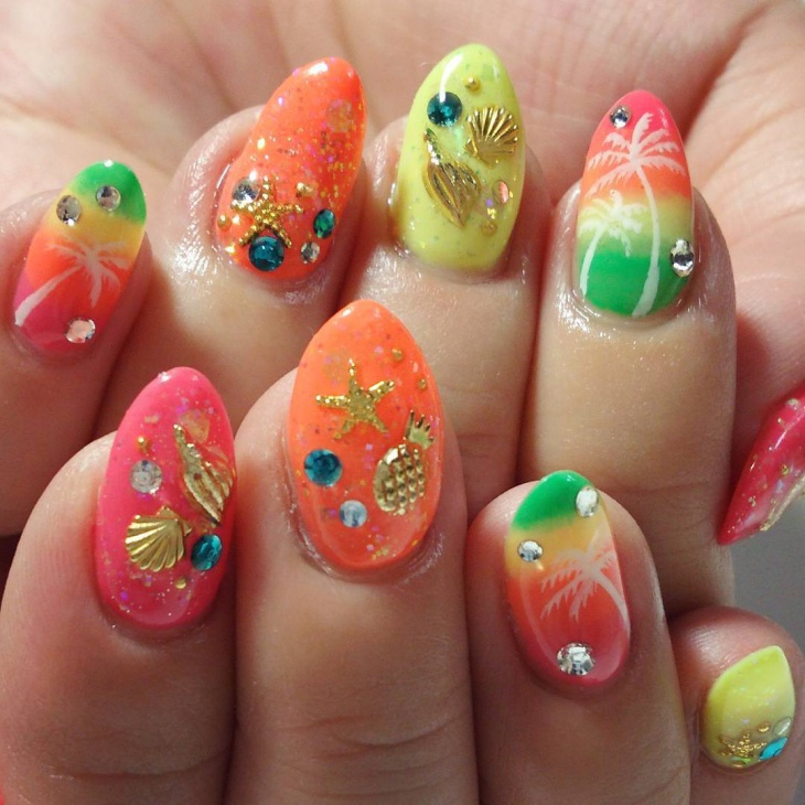 3D Pineapple Nail Art