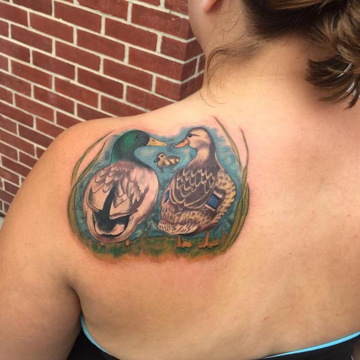 Duck Shoulder Tattoo for Women