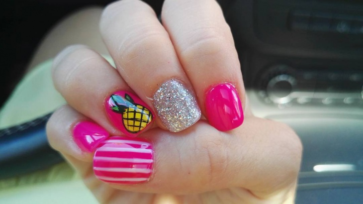 pink glitter pineapple nail art