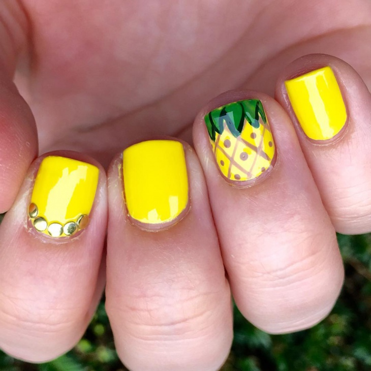 Yellow Pineapple Nail Art - 21+ Pineapple Nail Art Designs, Ideas Design Trends - Premium