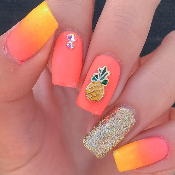 Acrylic Pineapple Nail Design