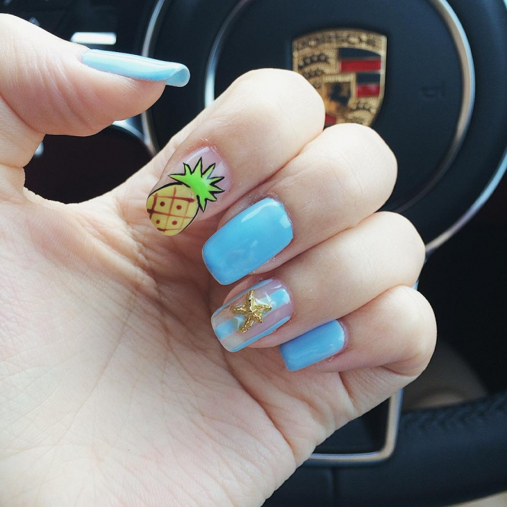 Teal Pineapple Nail Art