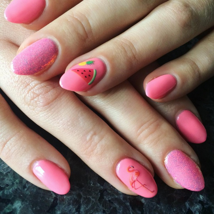 cute pineapple nail art idea