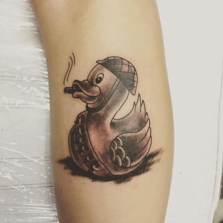 Cute Duck Tattoo Design