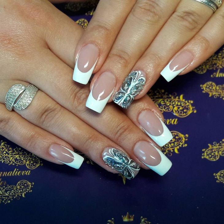 French Tip Butterfly Nail Art