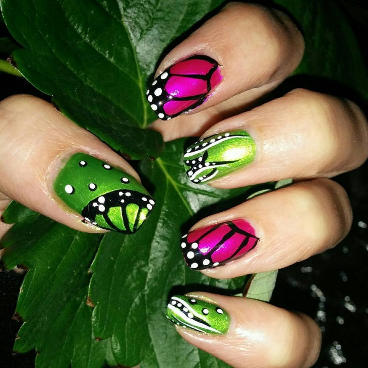 rainbow butterfly nail art design