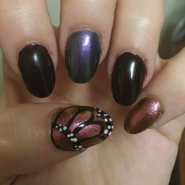 butterfly gel nail art