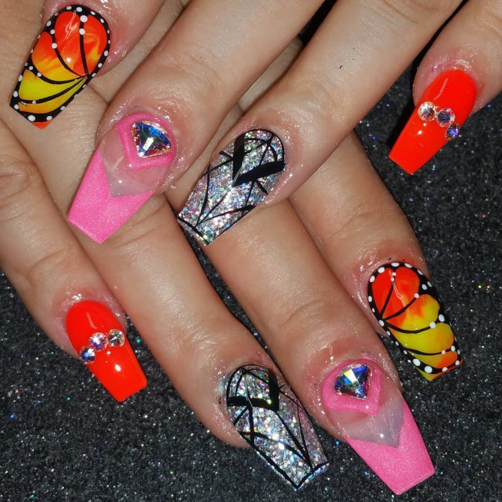 3d butterfly nail design