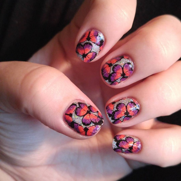 butterfly and flower nail art