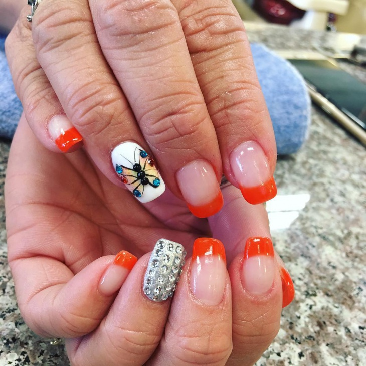 Butterfly Nail Art With Rhinestones