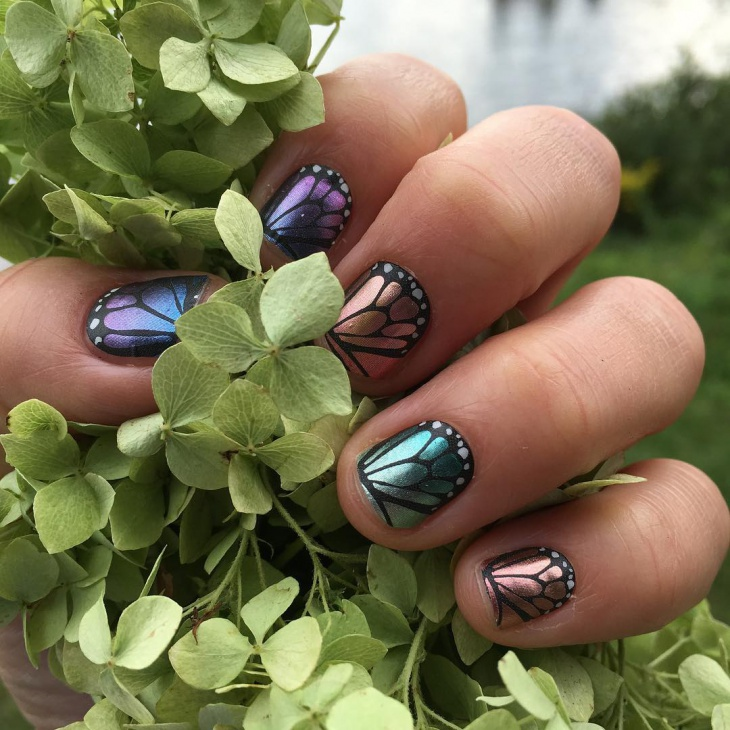 Glitter Butterfly Nails