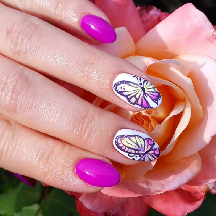 unique butterfly nail design