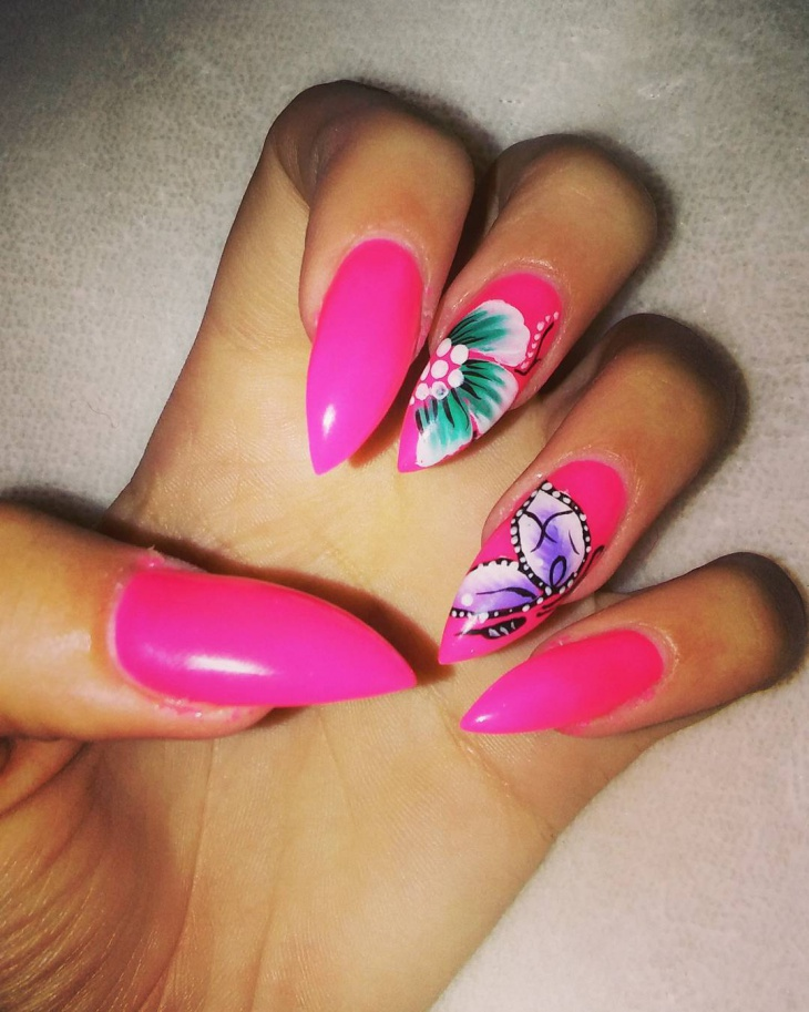 Pink Butterfly Nail Design
