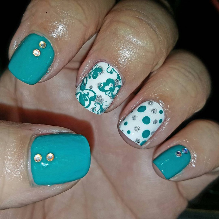 Teal Butterfly Nail Art