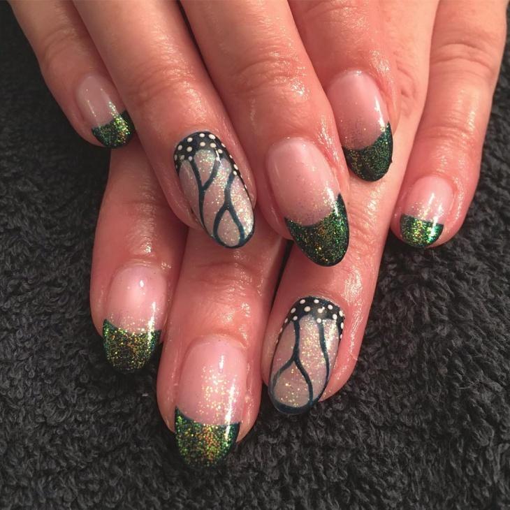 green butterfly nail art