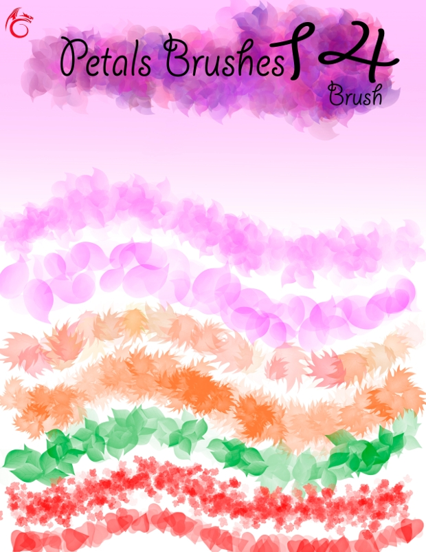 colorful petal brushes