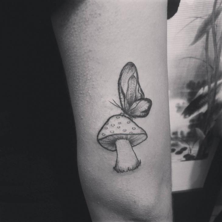 mushroom butterfly tattoo