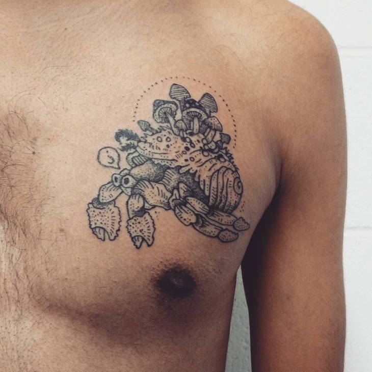 Mushroom Tattoo on Chest