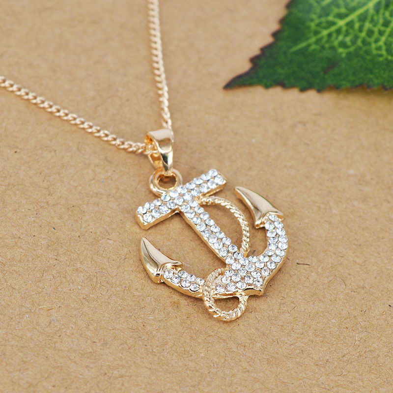Crystal Anchor Necklace Pendant