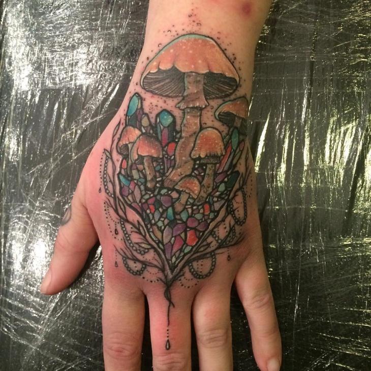 Mushroom Tattoo on Palm