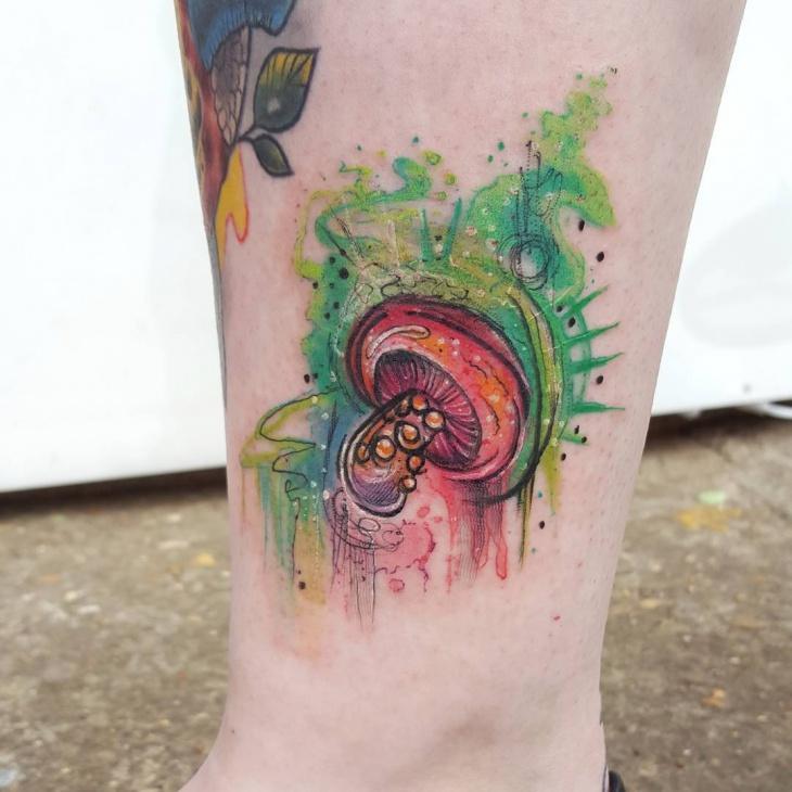 watercolor mushroom tattoo idea